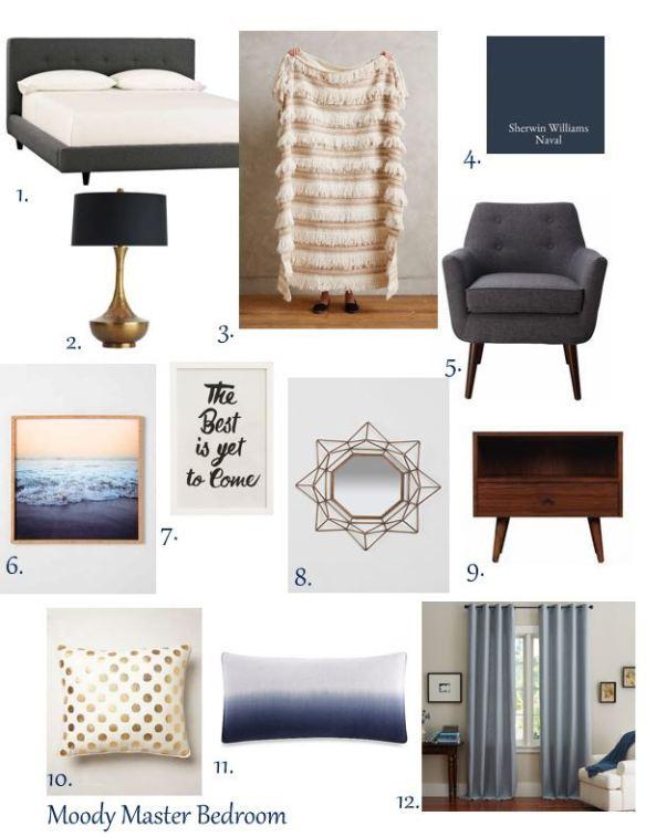 Moody Master Bedroom Inspiration // thegoldbrickroad.com